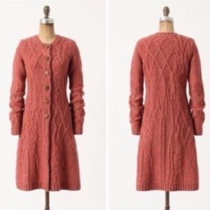 Anthropologie Wool Cardigan Cable coat XS